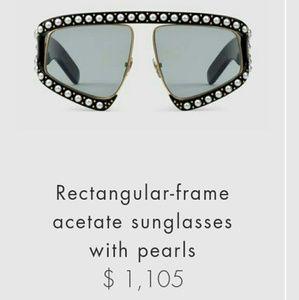 2017 Gucci Rectangular Actate Pearl Sunglasses